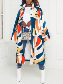 Blue Geometric Pattern Single Breasted Turndown Collar Plus Size Cardigan Coat