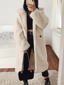 Rice White Pockets Buttons Turndown Collar Long Sleeve Faux Fur Teddy Long Coat
