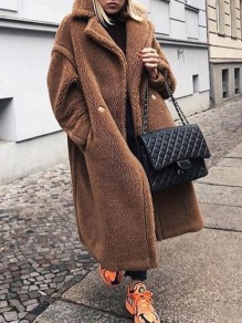 Brown Pockets Buttons Turndown Collar Long Sleeve Faux Fur Tan Teddy Long Coat