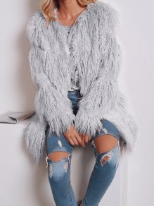 Grey Faux Fur Round Neck Long Sleeve Fashion Oversize Coat