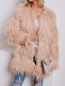 Pink Faux Fur Round Neck Long Sleeve Fashion Oversize Coat