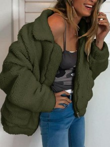 Green Zipper Zipper Turndown Collar Pockets Teddy Fuzzy Cardigan Outerwear Coat