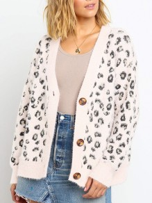 White Leopard Buttons V-neck Long Sleeve Fashion Mohair Cardigan Sweater