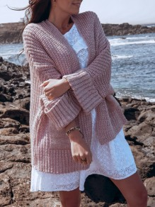 Pink Pockets Dolman Sleeve Oversize Fashion Cardigan Sweater