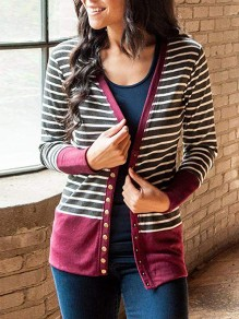 Red Striped Single Breasted V-neck Long Sleeve Fashion Cardigan Sweater