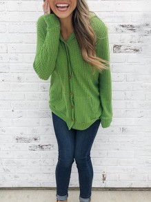 Green Single Breasted Pockets Hooded Long Sleeve Fashion Cardigan Sweater
