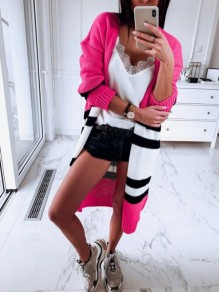 Neon Pink Striped Draped Long Sleeve Casual Cardigan Sweater