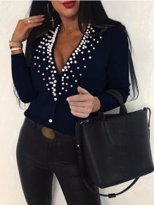 Blue Patchwork Pearl Single Breasted Bodycon Comfy Going out Sweater