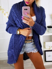 Blue Patchwork Irregular Ttrendy Turndown Collar Elegant Cardigan Sweater