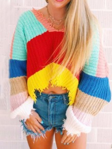Red Colorful Print Rainbow Striped Long Sleeve V-neck Casual Sweater Pullover