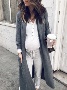 Grey Pockets Long Sleeve Oversize Fashion Cardigan Sweater