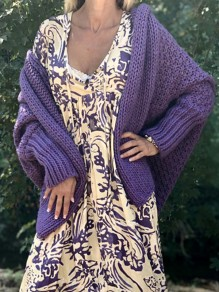 Purple Irregular Dolman Sleeve Oversize Fashion Cardigan Sweater
