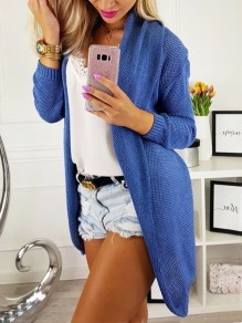 Blue Oversize Turndown Collar Long Sleeve Fashion Cardigan Sweater