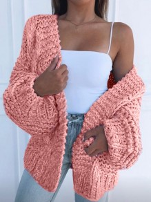 Pink Oversize V-neck Lantern Sleeve Fashion Cardigan Sweater