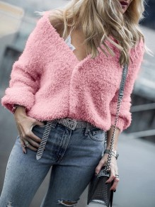 Pink Buttons V-neck Long Sleeve Fashion Cardigan Sweater