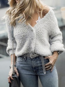 Grey Buttons V-neck Long Sleeve Fashion Cardigan Sweater