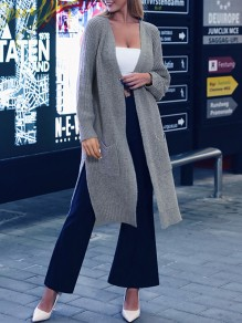 Grey V-neck Long Sleeve Slit Oversize Fashion Cardigan Sweater