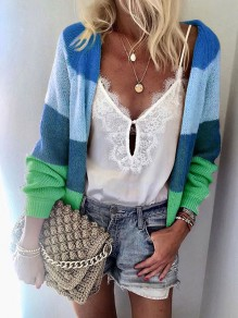 Blue Rainbow Striped Draped Long Sleeve Casual Cardigan Sweater