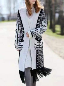 White Geometric Print Pockets Tassel V-neck Long Sleeve Cardigan Sweater