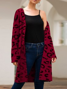 Date Red Leopard Print Long Sleeve Casual Cardigan Sweater