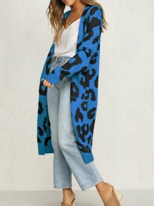 Blue Leopard Print Pockets Long Sleeve Casual Sweater Cardigan