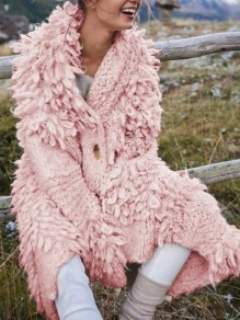 Pink Buttons V-neck Long Sleeve Oversize Mohair Cardigan Sweater