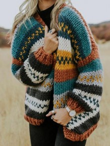 Green Brown Patchwork Long Sleeve Fashion Oversize Cardigan Sweater