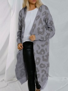 Grey Leopard Print Long Sleeve Oversize Fashion Cardigan Sweater