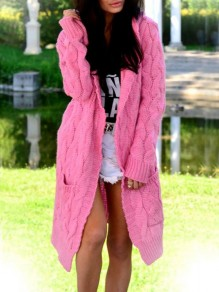 Pink Pockets Hooded Long Sleeve Oversize Fashion Cardigan Sweater