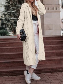 White V-neck Long Sleeve Going out Hooded Oversize Cardigan Sweater