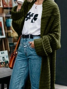 Green Oversize V-neck Long Sleeve Fashion Long Cardigan Sweater