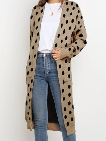 Black Polka Dot Pocket V-neck Long Sleeve Fashion Cardigan Sweater