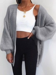 Grey Pockets V-neck Long Sleeve Oversize Fashion Cardigan Sweater