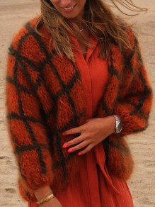 Orange Black Plaid V-neck Long Sleeve Fashion Cardigan Sweater