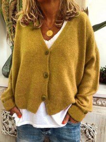Yellow Buttons V-neck Long Sleeve Oversize Fashion Cardigan Sweater