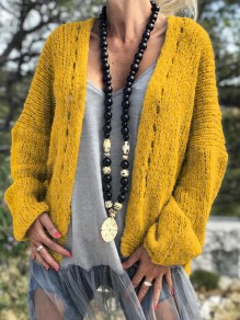 Yellow Cut Out V-neck Long Sleeve Oversize Cardigan Sweater