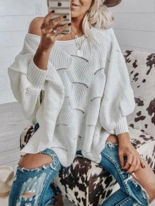 White Patchwork Print Cut Out Long Sleeve Others Fashion Pullover Sweater