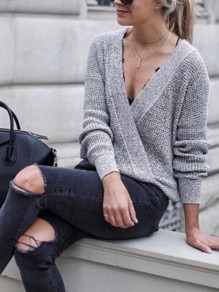 Grey Patchwork Tiered Long Sleeve V-neck Fashion Pullover Sweater