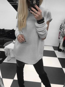 Grey Cut Out 2-in-1 Round Neck Long Sleeve Fashion Pullover Sweater