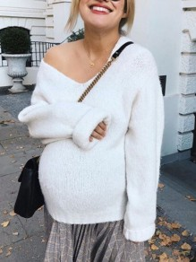 White Asymmetric Shoulder Long Sleeve Oversize Fashion Pullover Sweater