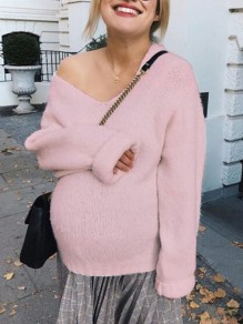 Pink Asymmetric Shoulder Long Sleeve Oversize Fashion Pullover Sweater
