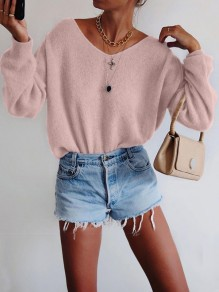 Pink Oversize V-neck Long Sleeve Fashion Pullover Sweater