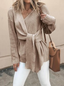 Khaki Patchwork Long Sleeve V-neck Fashion Pullover Sweater