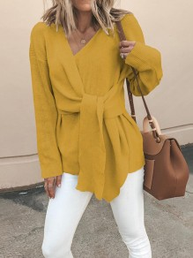 Yellow Patchwork Long Sleeve V-neck Fashion Pullover Sweater