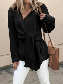 Black Patchwork Long Sleeve V-neck Fashion Pullover Sweater