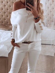 White Asymmetric Shoulder Buttons Long Sleeve Fashion Pullover Sweater