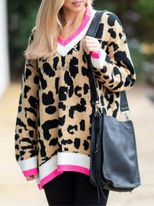 Khaki Leopard Print V-neck Cricket Pullover Sweater