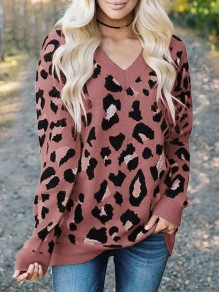 Red Leopard Print V-neck Pullover Sweater