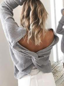 Grey Cut Out V-neck Backless Cross Back Oversized Casual Pullover Sweater