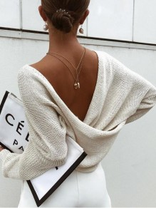 Apricot Cut Out Deep V-neck Backless Cross Back Oversized Casual Pullover Sweater